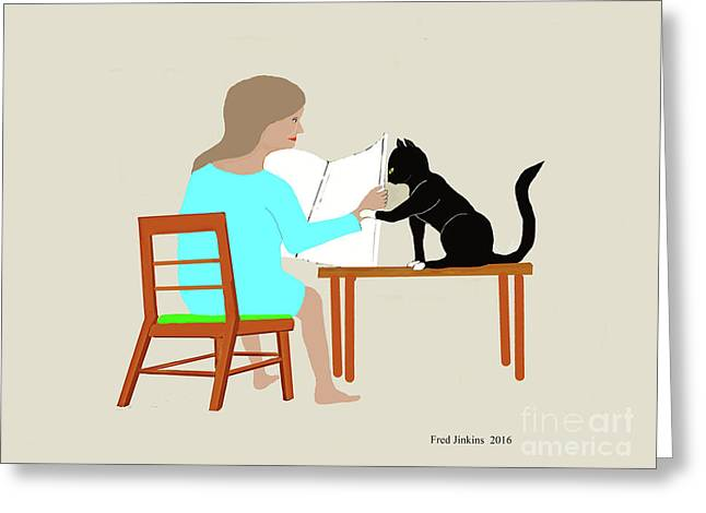 Socks Reads Sunday Paper Greeting Card by Fred Jinkins