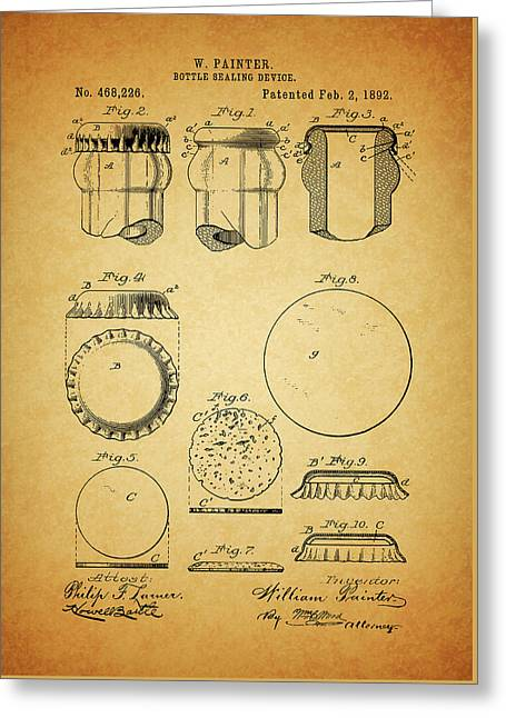 Soda Bottle Cap Patent Greeting Card