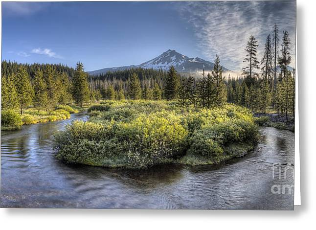 Soda Creek Winding To Broken Top Greeting Card