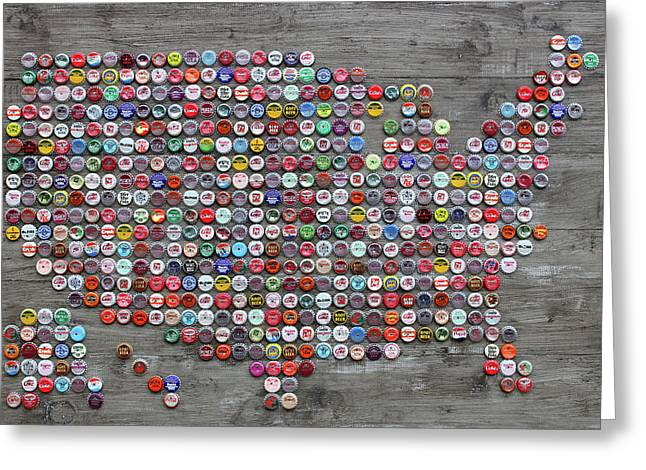 Soda Pop Bottle Cap Map Of The United States Of America Greeting Card by Design Turnpike