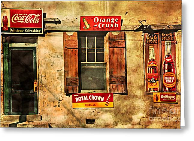 Coca Cola With Other Soda Pop Vintage Tin Signs Greeting Card by John Stephens
