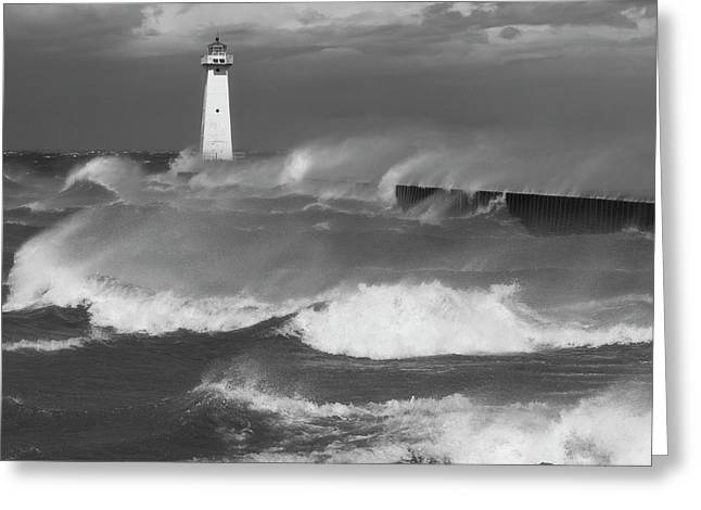 Greeting Card featuring the photograph Sodus Point Light During The Storm by Chris Babcock