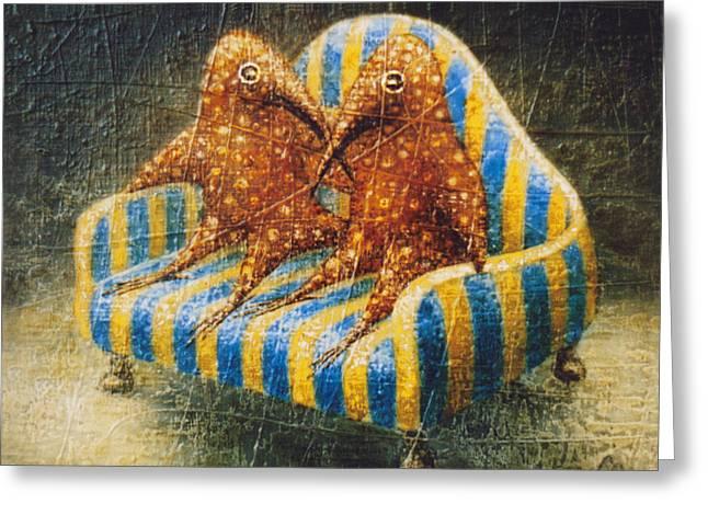 Birdman Greeting Cards - Sofa Greeting Card by Lolita Bronzini