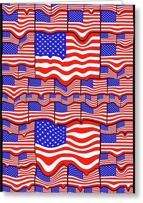 Soft American Flags Greeting Card by Mike McGlothlen