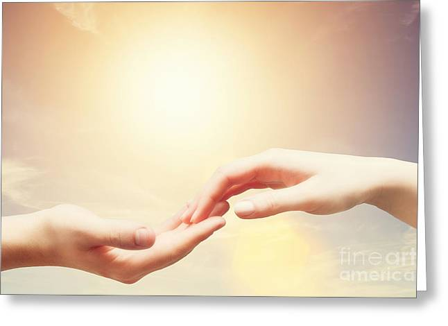Soft And Gentle Touch Of Man And Woman Against Sunny Sky With Flare In Vintage Mood Greeting Card