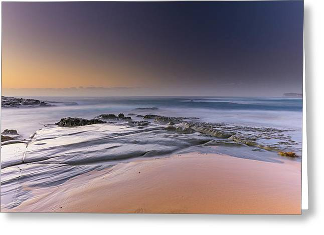 Soft And Rocky Sunrise Seascape Greeting Card