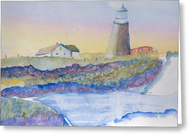 Soft Blue And A Light House Greeting Card by MaryBeth Minton