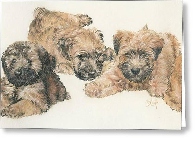 Soft-coated Wheaten Terrier Puppies Greeting Card