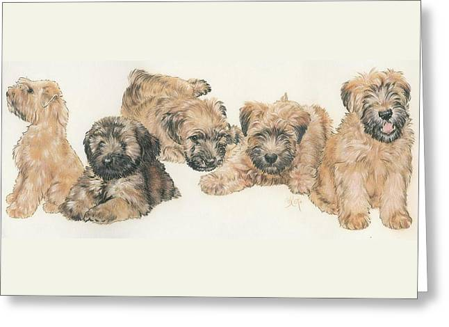 Soft-coated Wheaten Terrier Puppies Greeting Card by Barbara Keith