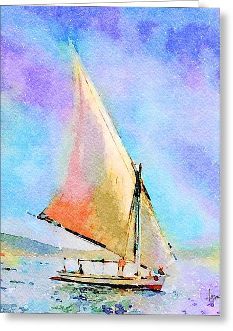 Greeting Card featuring the painting Soft Evening Sail by Angela Treat Lyon