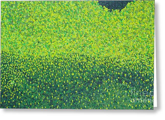 Abstract Nature Greeting Cards - Soft Green Wet Trees Greeting Card by Dean  Triolo