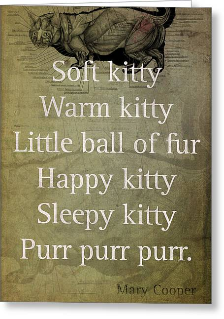 Soft Kitty Warm Kitty Poem Quotation Big Bang Theory Inspired Sheldon Cooper Mother On Worn Canvas Greeting Card by Design Turnpike