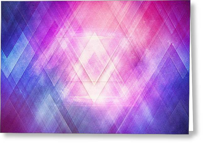 Soft Modern Fashion Pink Purple Bluetexture  Soft Light Glass Style   Triangle   Pattern Edit Greeting Card by Philipp Rietz