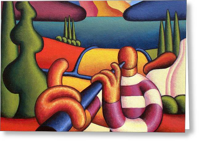 Session Musician Greeting Cards - Soft Musician With Cottage In Landscape Greeting Card by Alan Kenny