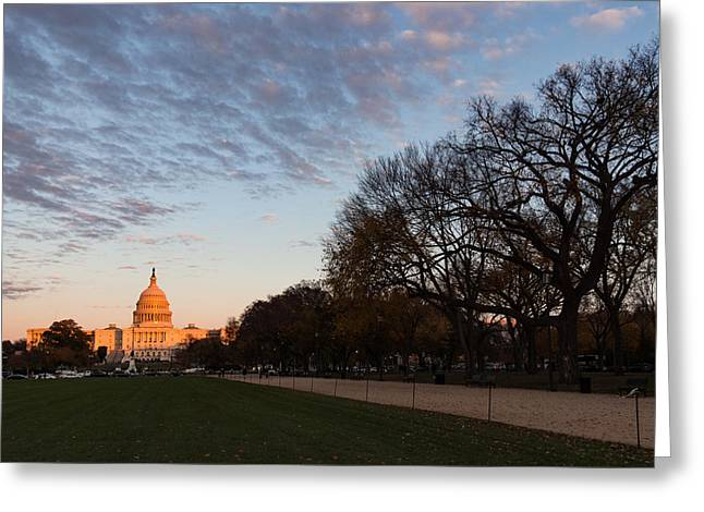 Soft Orange Glow - U S Capitol And The National Mall At Sunset Greeting Card
