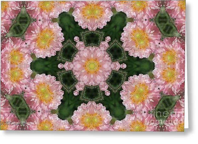Soft Pink And White Angel's Choir Mandala Greeting Card