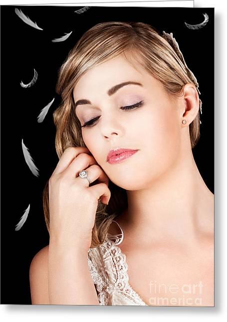 Soft Portrait Of A Beautiful Blonde Fashion Model Greeting Card