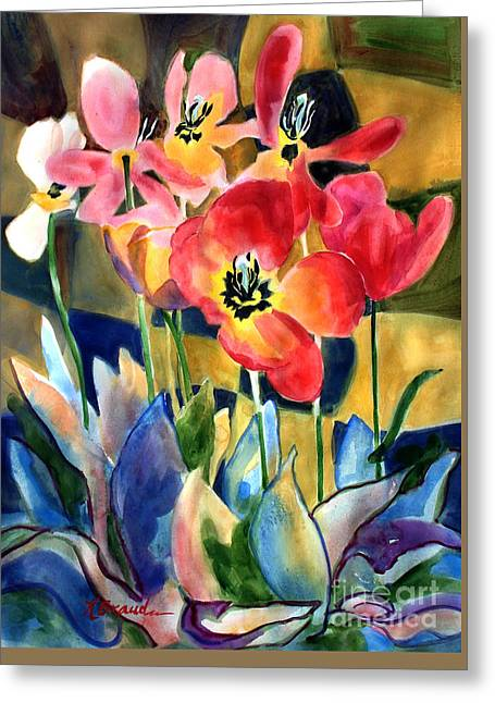 Soft Quilted Tulips Greeting Card by Kathy Braud