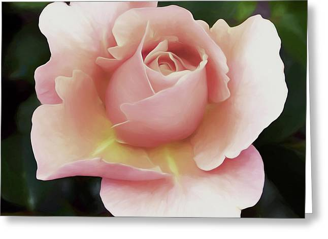 Soft Rose And Greenery Wall Art Greeting Card by Georgiana Romanovna