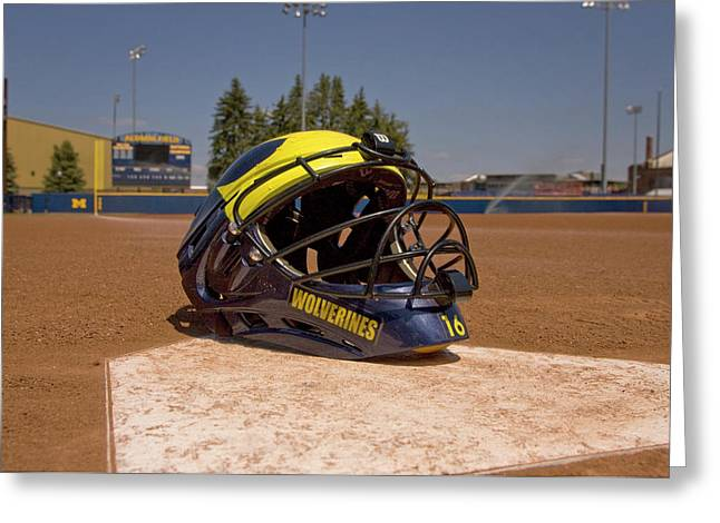 Softball Catcher Helmet Greeting Card