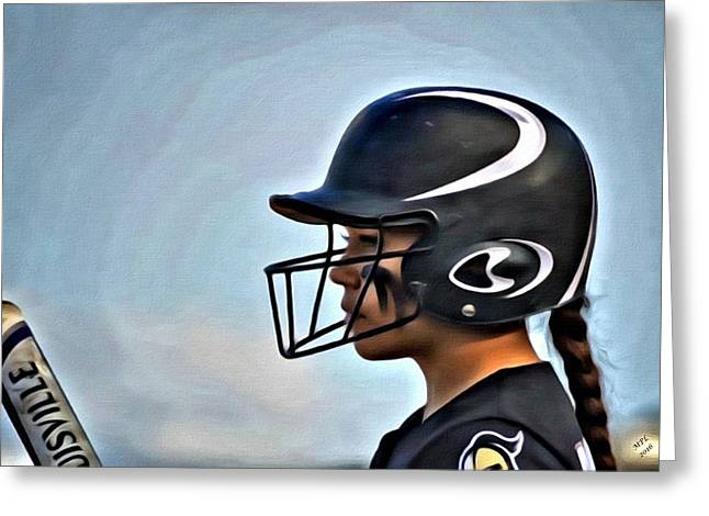 Softball Beauty Girl Greeting Card