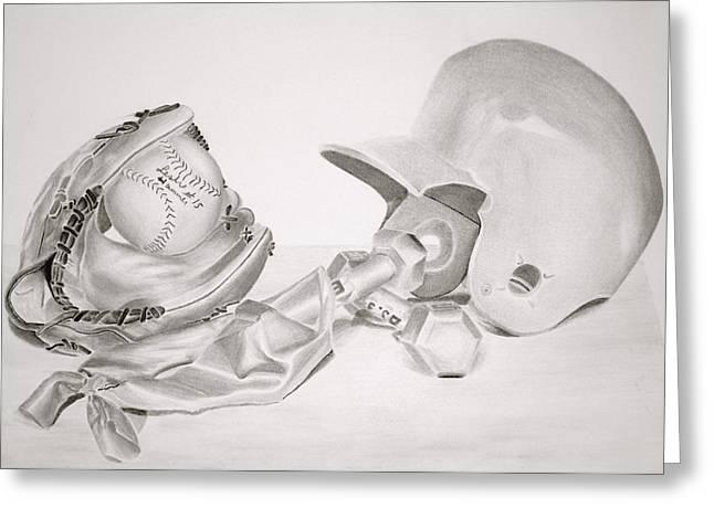 Baseball Glove Drawings Greeting Cards - Softball Greeting Card by Leslie Ann Hammer