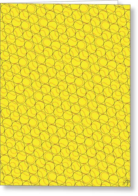 Softball Pattern 1 Greeting Card by Jerry Watkins