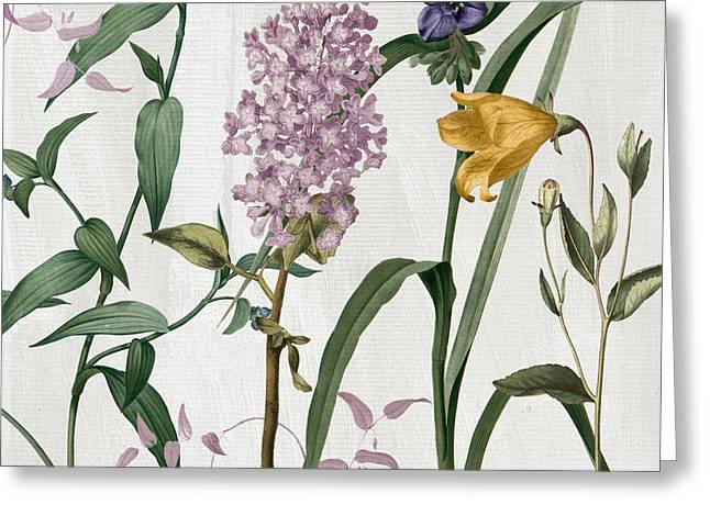 Softly Lilacs And Crocus Greeting Card by Mindy Sommers