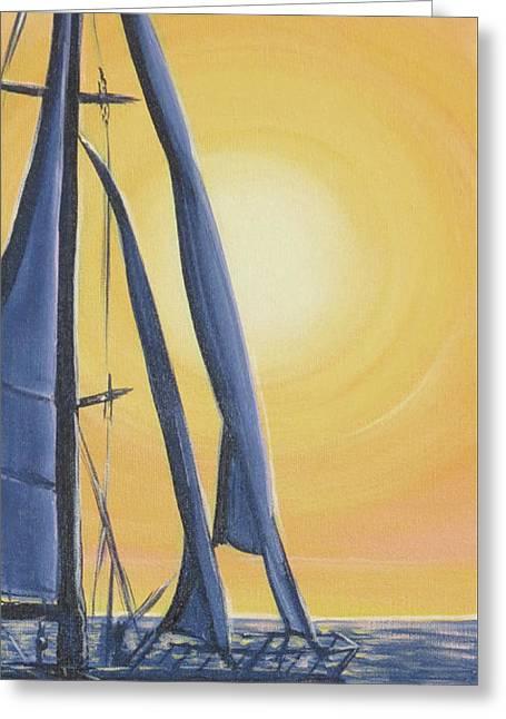 Softly Setting Sun Greeting Card by Elisabeth Sullivan