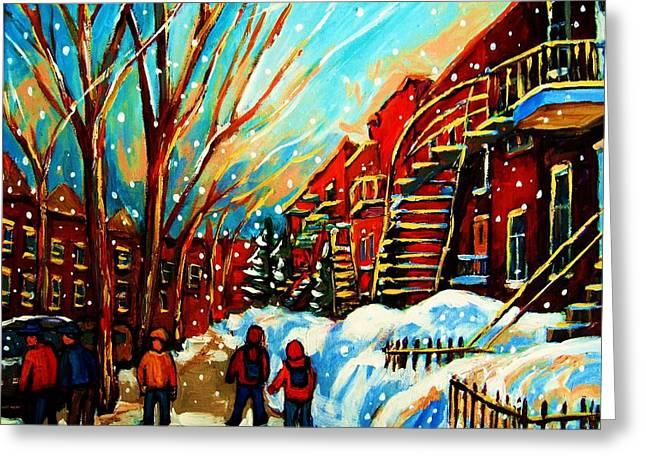 Softly Snowing Greeting Card by Carole Spandau