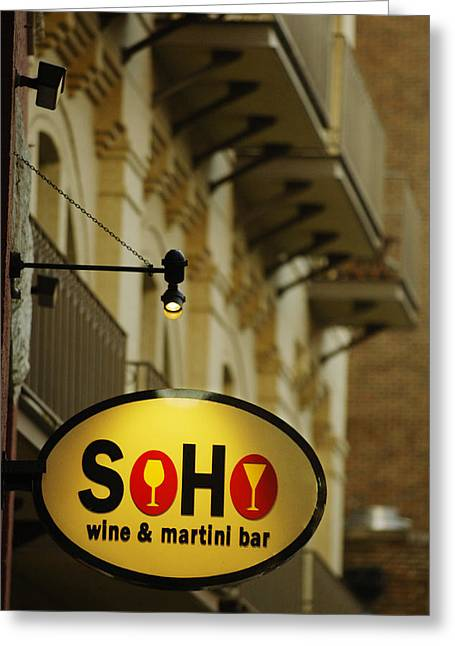 Soho Wine Bar Greeting Card by Jill Reger