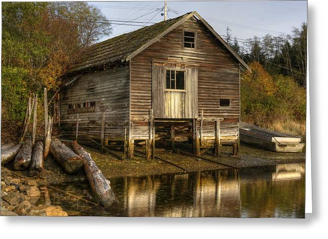 Sointula Boat Shed Greeting Card by Darryl Luscombe