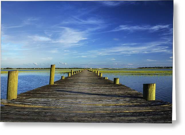 Charleston Greeting Cards - Sol Legare Wooden Dock Vanishing Point Greeting Card by Dustin K Ryan