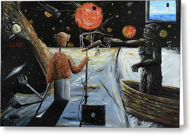 Greeting Card featuring the painting Solar Broadcast -transition- by Ryan Demaree