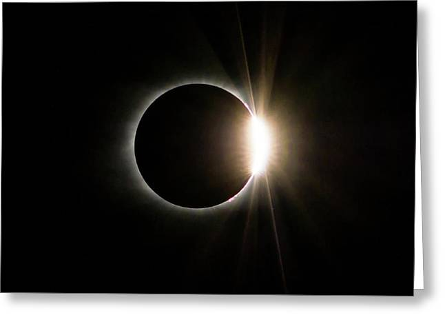 Greeting Card featuring the photograph Solar Eclipse Diamond Ring by Lori Coleman