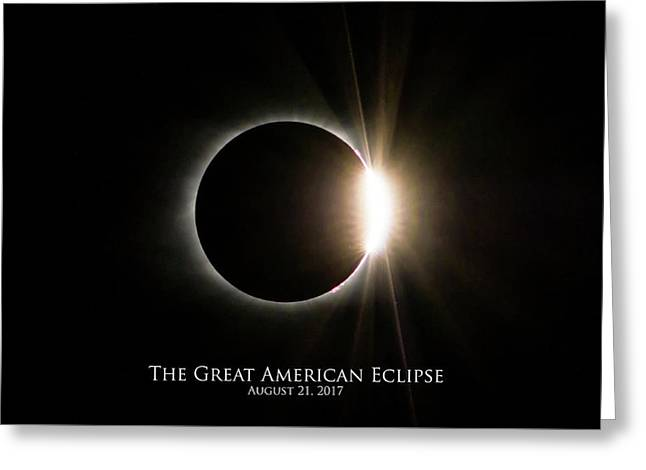 Greeting Card featuring the photograph Solar Eclipse Diamond Ring With Text by Lori Coleman