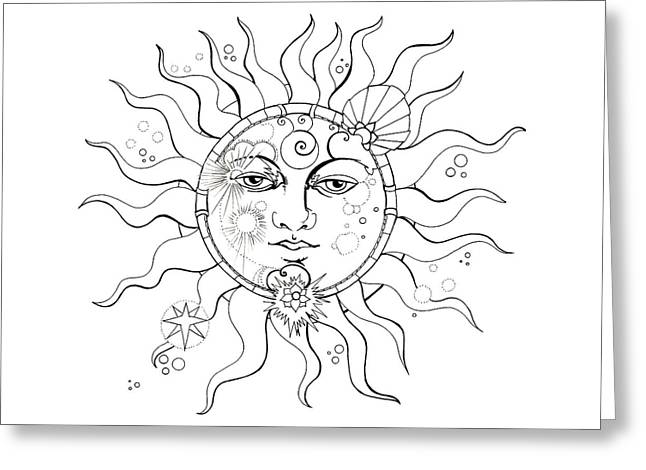 Solar Eclipse Moon Face Colouring Page Greeting Card
