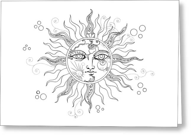 Solar Eclipse Moon Face Line Drawing Greeting Card