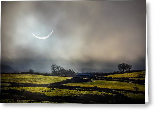 Solar Eclipse Over County Clare Countryside Greeting Card