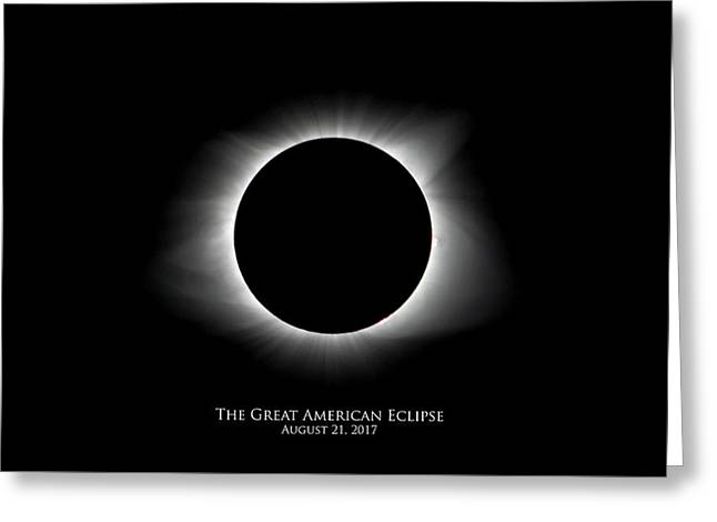 Greeting Card featuring the photograph Solar Eclipse Ring Of Fire With Text by Lori Coleman