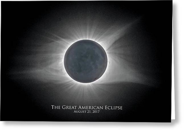 Greeting Card featuring the photograph Solar Eclipse With Moon Detail And Text by Lori Coleman