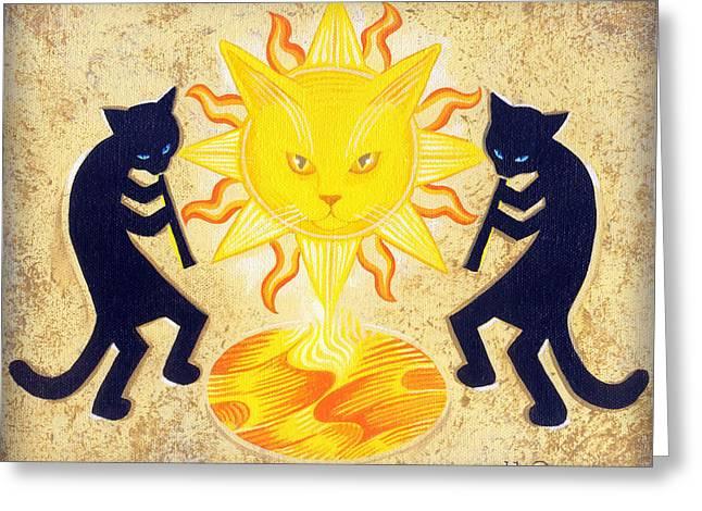 Solar Feline Entity Greeting Card by John Deecken
