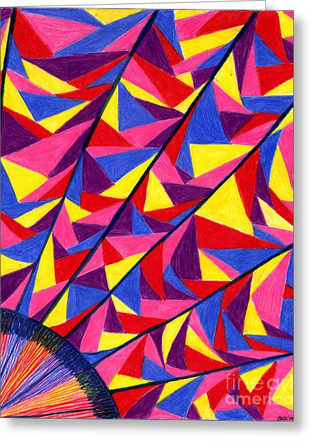 Greeting Card featuring the drawing Solar Fractals by Kim Sy Ok