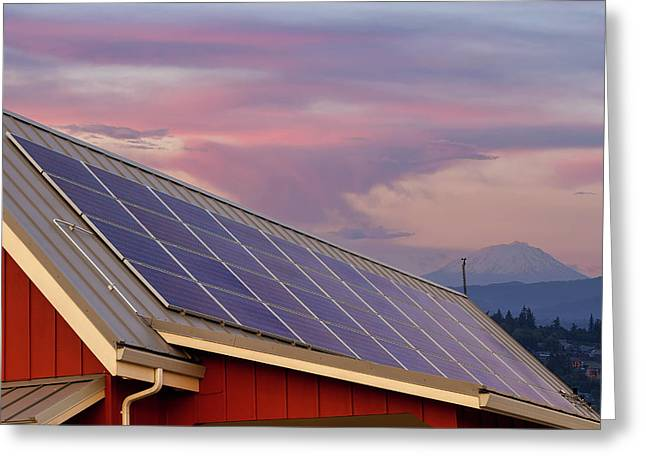 Solar Panels On Roof Of House Greeting Card by David Gn