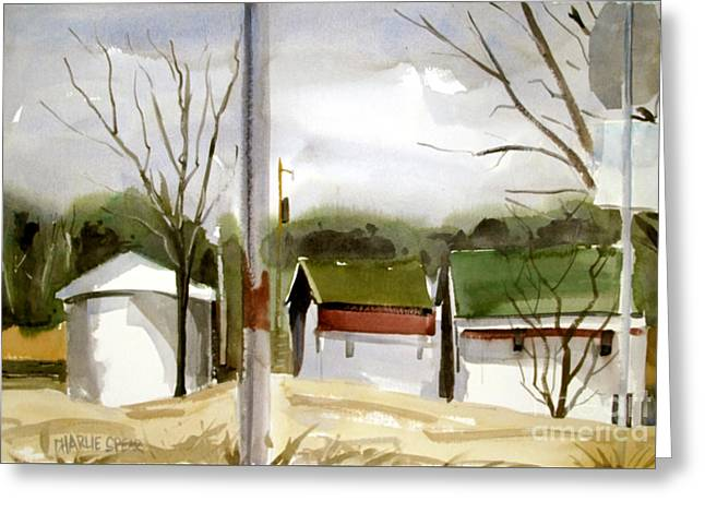 Greeting Card featuring the painting Solar Powered Farm Matted Glassed And Framed by Charlie Spear