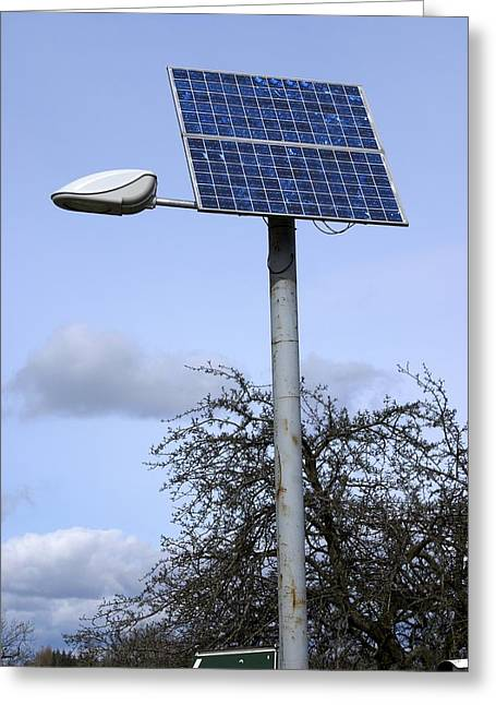 Solar Powered Street Light, Uk Greeting Card by Mark Williamson