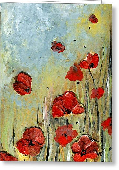 Sold Mom And Poppies Greeting Card by Amanda  Sanford