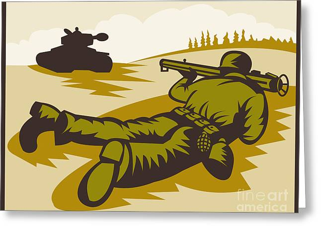 Soldier Aiming Bazooka Greeting Card by Aloysius Patrimonio