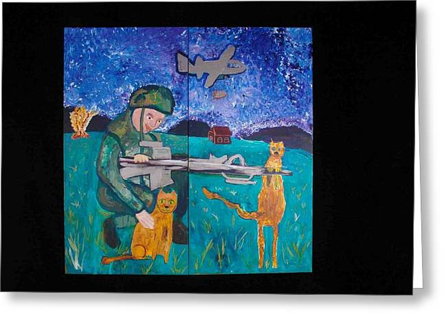 Soldier And Two Cats Greeting Card