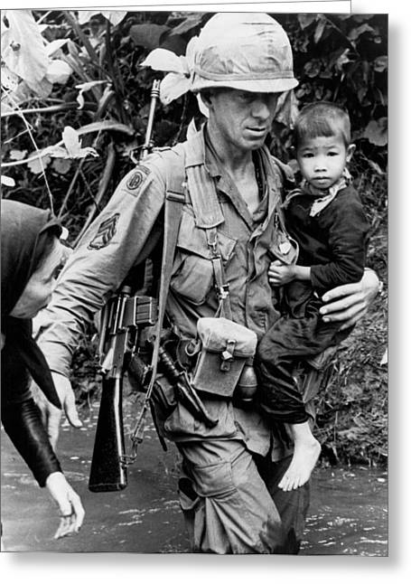 Soldier Carrying Boy Greeting Card by Underwood Archives